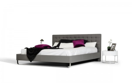 Modrest Gemma Italian Bed in Grey Tufted Leather