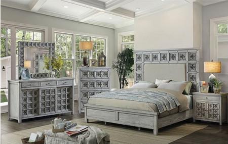 Pantaleon Bedroom Set in Antique Light Gray