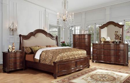 Bellavista Traditional Bedroom Set in Brown Cherry