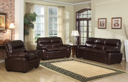 Brown Finish Living Room Set 604BR Meridian Furniture