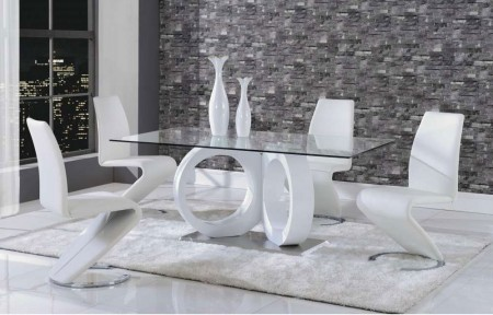 White Z Chairs Tempered Glass Modern Dining Room Set D9002DT