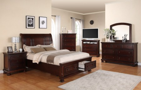 Solid Wood Mahogany Storage Bedroom Set G7000A