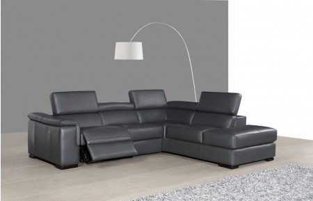 Agata Modern Reclining Sectional Sofa in Grey Leather