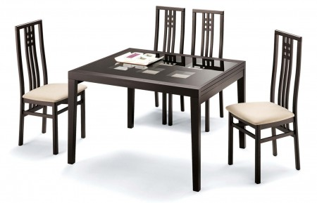 Poker Italian Dining Room Set in Wenge Top and Finish