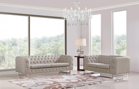 Divani Casa Caswell Living Room Set in Beige Fabric