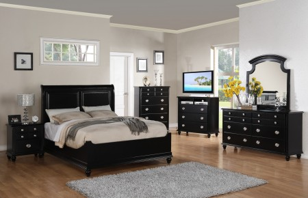 Black Finish Wood Bedroom Set G5925B with Leather Headboard