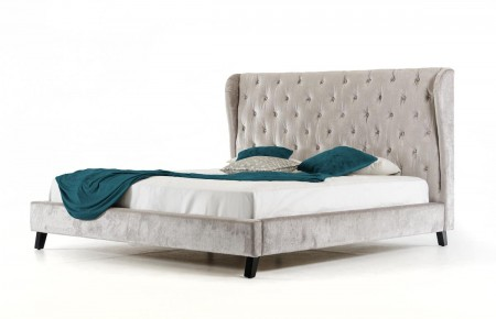 Sheba Transitional Bed in Light Grey Tufted Fabric