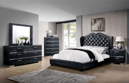 Monroe Bedroom Set in Black Finish