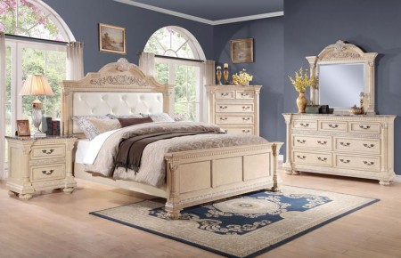 Russian Hill Bedroom Set in Antique White Finish