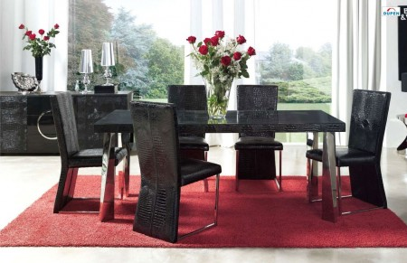 Coco Black Leather Upholstered Dining Set by Dupen Spain