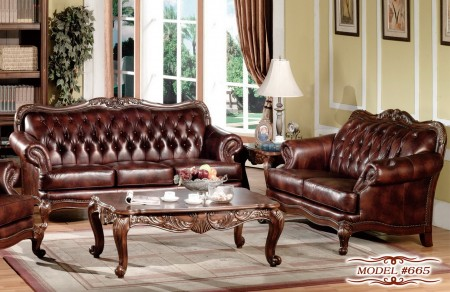 Cherry Wood Trim Leather Living Room Set 665