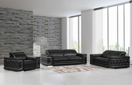 Divanitalia 692 Living Room Set in Black Leather