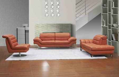 Astro Modern Living Room Set in Pumpkin Leather