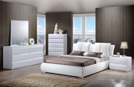 Bailey White Bedroom Set 8269 Upholstered Bed