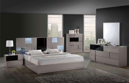 Bianca Modern Bedroom Set in Taupe Finish Global Furniture