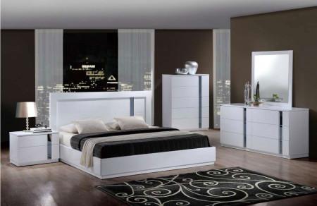 Jody Contemporary Bedroom Set in White Finish