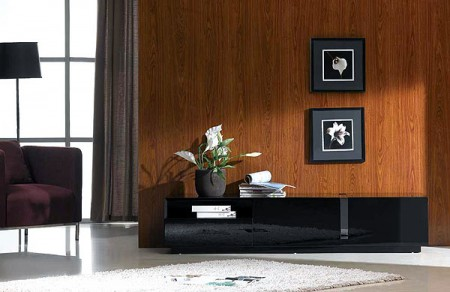 T027 Black High Gloss Contemporary TV Stand