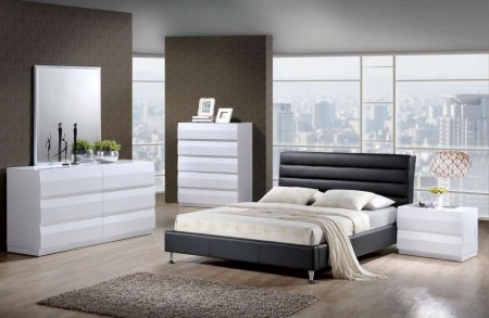 Bailey White Bedroom Set 8284 Black Leather Bed