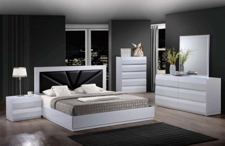 Bailey Modern White Bedroom Set Black Headboard