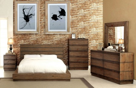Coimbra Bedroom Set in Rustic Natural Tone