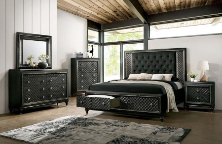 Demtria Bedroom Set in Gray with Storage Bed