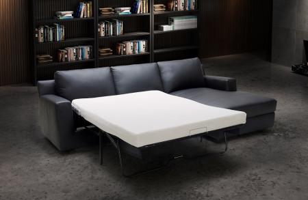 Elizabeth Sofa Bed Sectional in Black Italian Leather