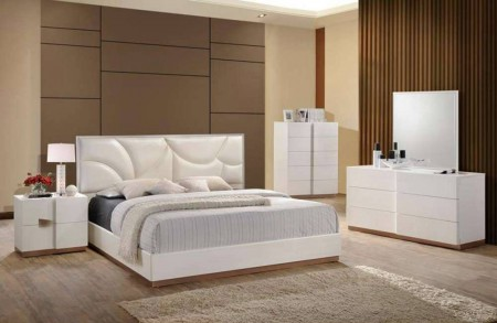 Paris Modern White Bedroom Set by Global Furniture