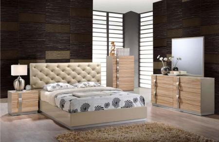 Grace Modern Beige Bedroom Set Tufted Leather Bed
