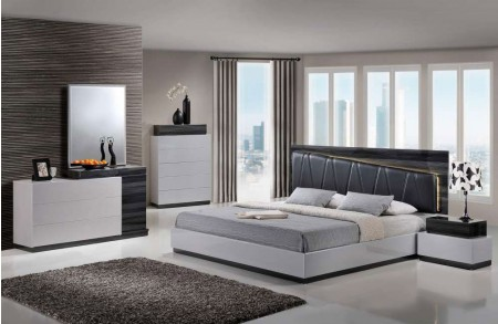 Lexi Modern Bedroom Set in Two Tone Grey Finish