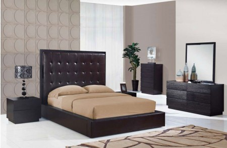 Metro Wenge Bedroom Set and Brown Leather Bed