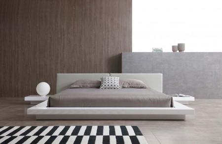 Opal Modern Platform Bed in White