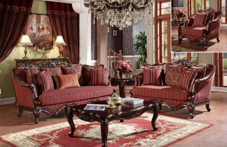 U2300 Traditional Living Room Set in Red Fabric