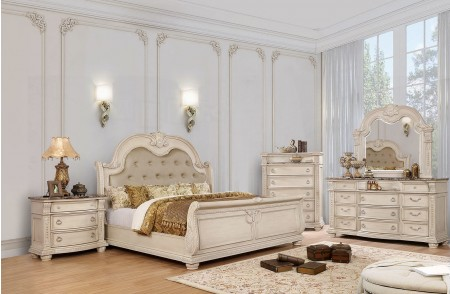 Ammanford Traditional Bedroom Set in Antique Whitewash and Sleigh Bed