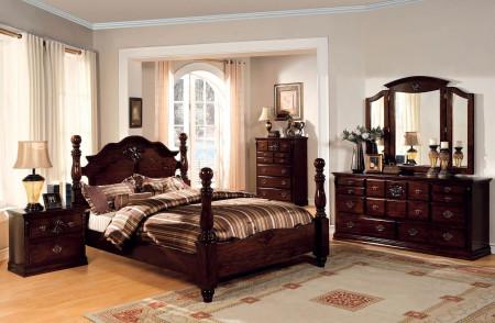 Tuscan Bedroom Set in Dark Pine Finish