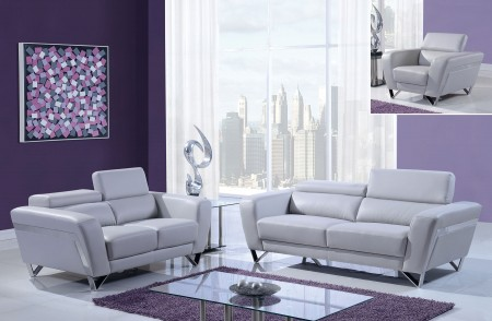 Light Grey Modern Leather Living Room Set U7120