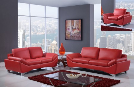 Modern Red Leather Living Room Set UR7140 Global Furniture
