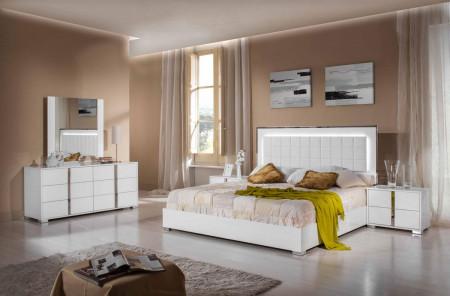 Modrest San Marino Italian Bedroom Set in White Lacquer