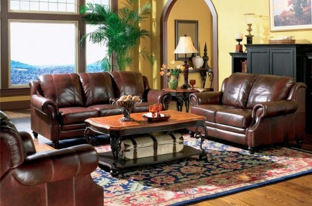 500660 Princeton Living Room Set in Burgundy Leather