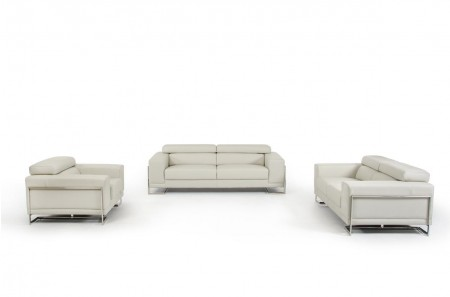 Divani Casa Hover Contemporary Sofa Set in Grey Leather