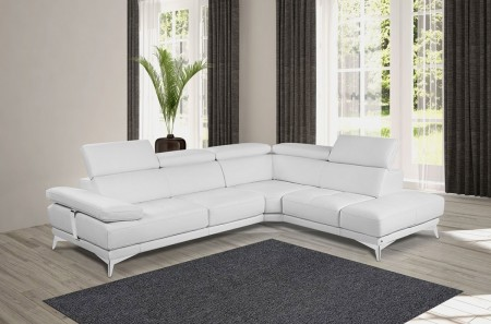 Winner Sectional Sofa in White Leather by Nicoletti