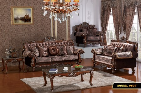 French Style Fabric Wood Trim Living Room Set 637