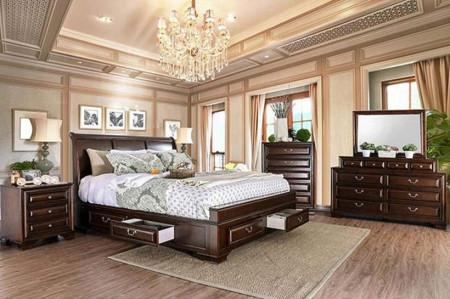 Brandt Bedroom Set in Brown Cherry with Storage Bed