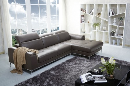1727 Modern Brown Leather Sectional Sofa
