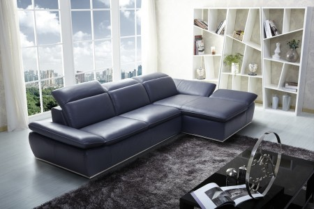 Sectional Sofa in Black Leather 1799