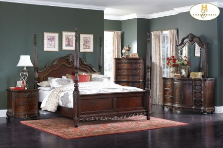 Deryn Park Traditional Poster Bedroom Set in Cherry Finish