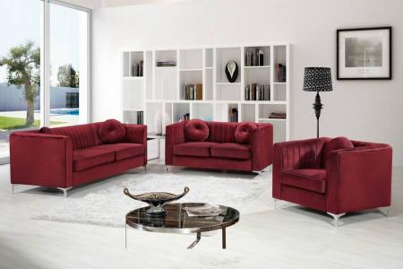 Isabelle 612 Classic Living Room Set in Red Velvet