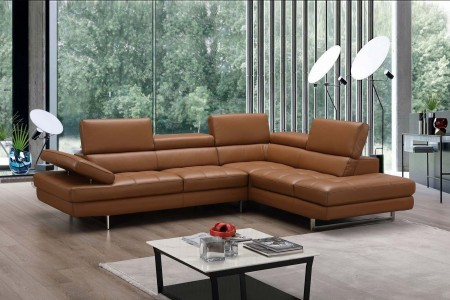 A761 Sectional Sofa in Caramel Leather