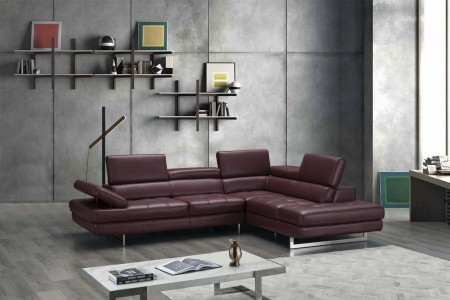 A761 Sectional Sofa in Maroon Leather
