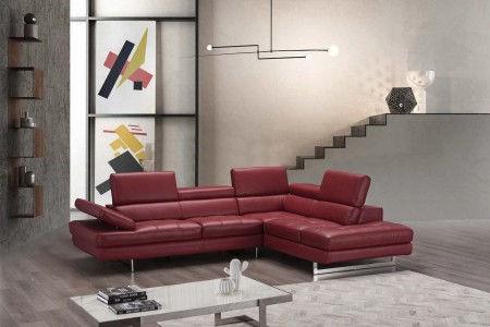 A761 Sectional Sofa in Red Leather
