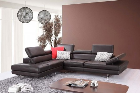 A761 Sectional Sofa in Coffee Leather